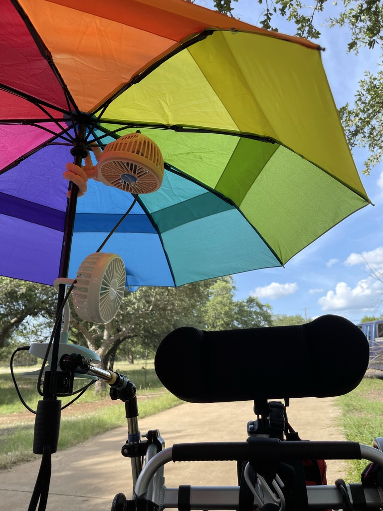 Rainbow wheelchair umbrella with two clip on fans